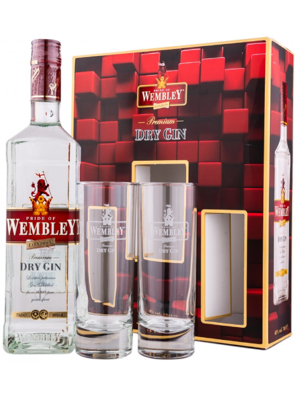 WEMBLEY DRY GIN 0.7L + 2 PAHARE