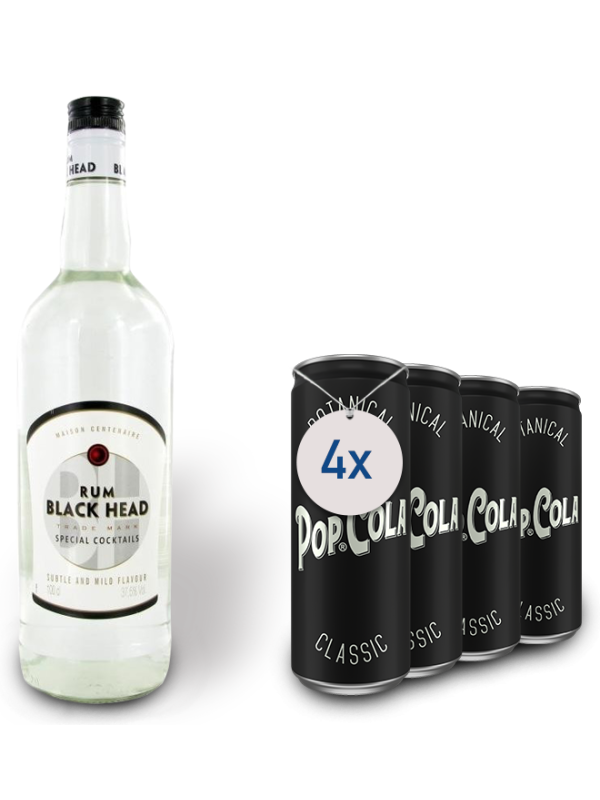 MAISON CENTENAIRE - BLACK HEAD WHITE RUM 1L + 4 POP COLA CLASSIC 0.33L