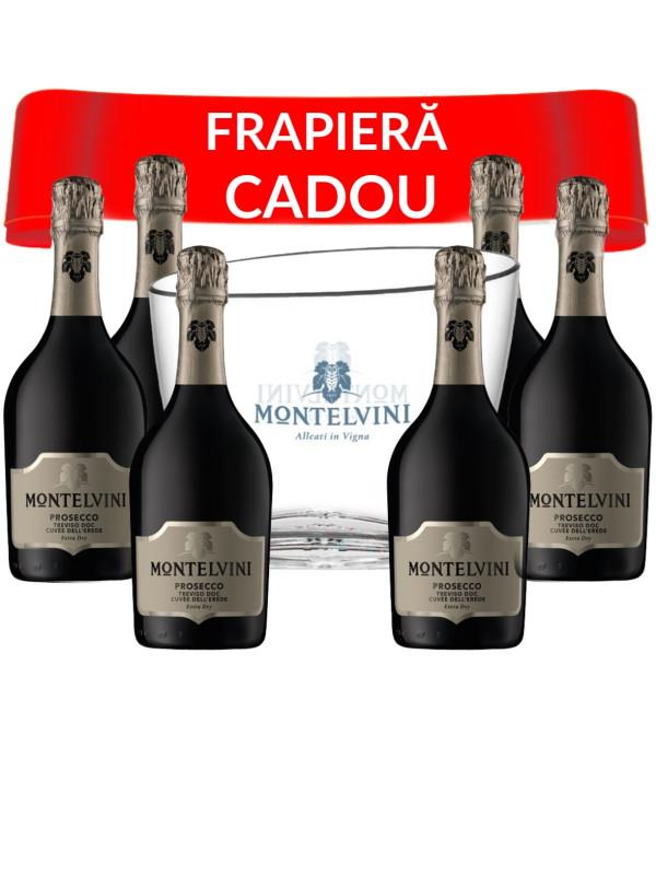 MONTELVINI PROSECCO TREVISO DOC CUVEE DELL' EREDE EXTRA DRY 0.75L X 6 + FRAPIERA CADOU
