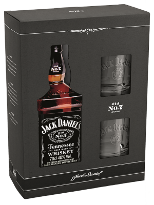JACK DANIEL'S OLD NO. 7 WHISKY 0.7L + 2 PAHARE