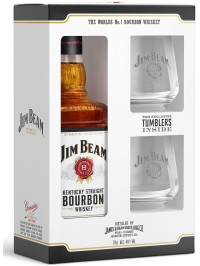 JIM BEAM WHITE BOURBON WHISKY 0.7L + 2 PAHARE